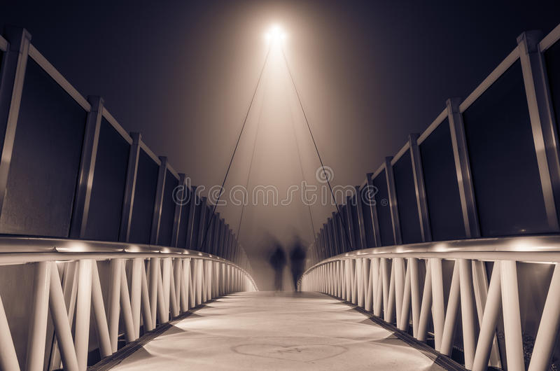 Misty Bridge At Night Stock Photography
