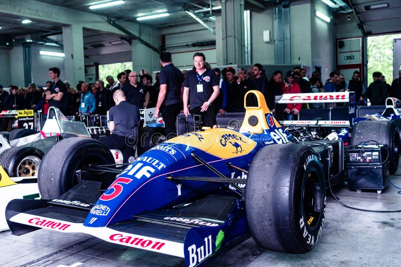Imola, Italy 28 April 2019: the winning Formula one car Williams FW14 during the historic Minardi Day. The winning Formula one car Williams FW14 during the royalty free stock images