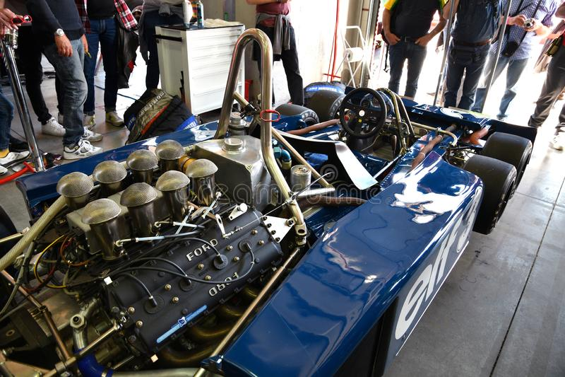 Imola, le 27 avril 2019 : Détail de 1976 F1 historiques Tyrrell P34 Ronnie Peterson ex conduit par Pierluigi Martini dans la boît photos stock