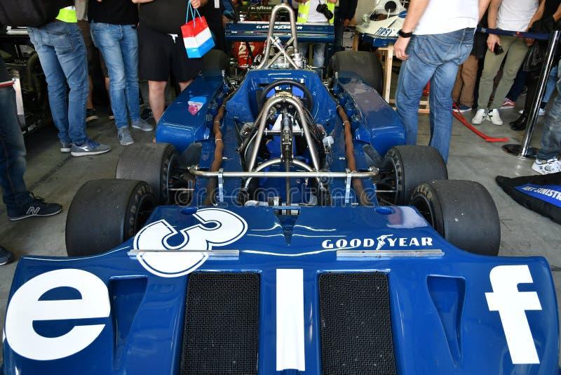 Imola, le 27 avril 2019 : D?tail de 1976 F1 historiques Tyrrell P34 Ronnie Peterson ex conduit par Pierluigi Martini dans la bo?t photographie stock