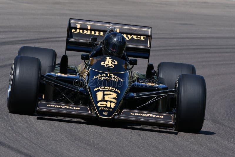 Imola, o 27 de abril de 2019: 1985 F1 históricos Lotus 97T/4 John Player Special Ayrton Senna ex na ação durante o dia histórico  fotos de stock
