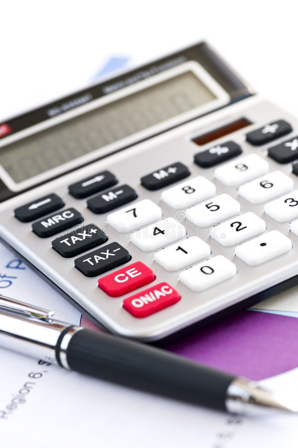 impôt de crayon lecteur de calculatrice image stock