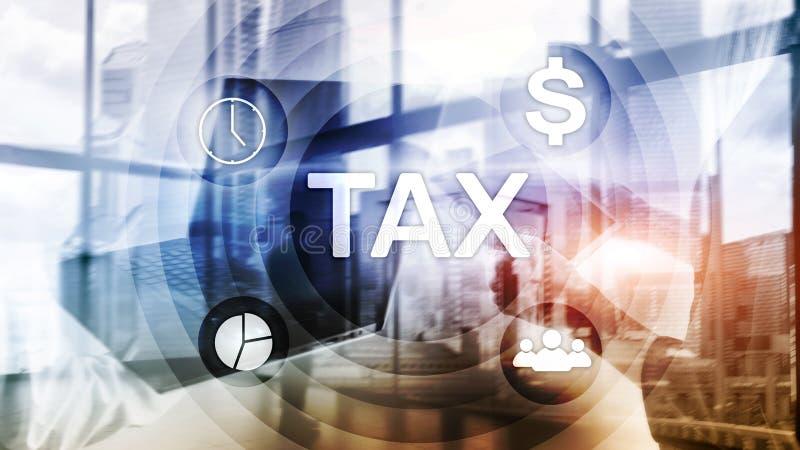 Impôt Digarams, affaires et concept financier sur le fond brouillé image stock