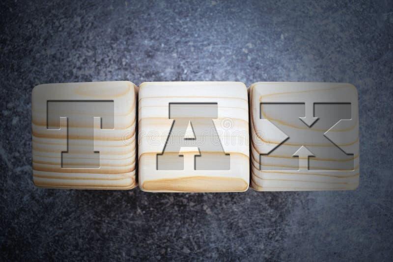 Impôt - texte sur les blocs en bois de texture sur le fond gris-foncé image stock