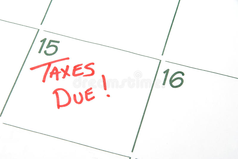 Impôts dus images libres de droits