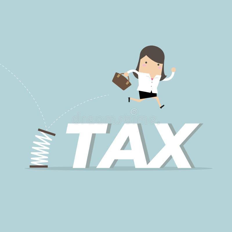 Impôts sautants d'homme d'affaires avec le ressort illustration libre de droits