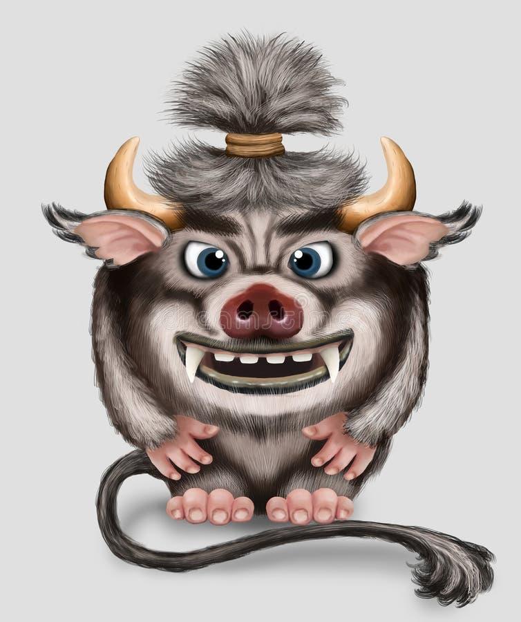 imp Mostro divertente con i corni coda ed il muso della carne di maiale Piccolo demone con i grandi denti Carattere di fantasia illustrazione vettoriale