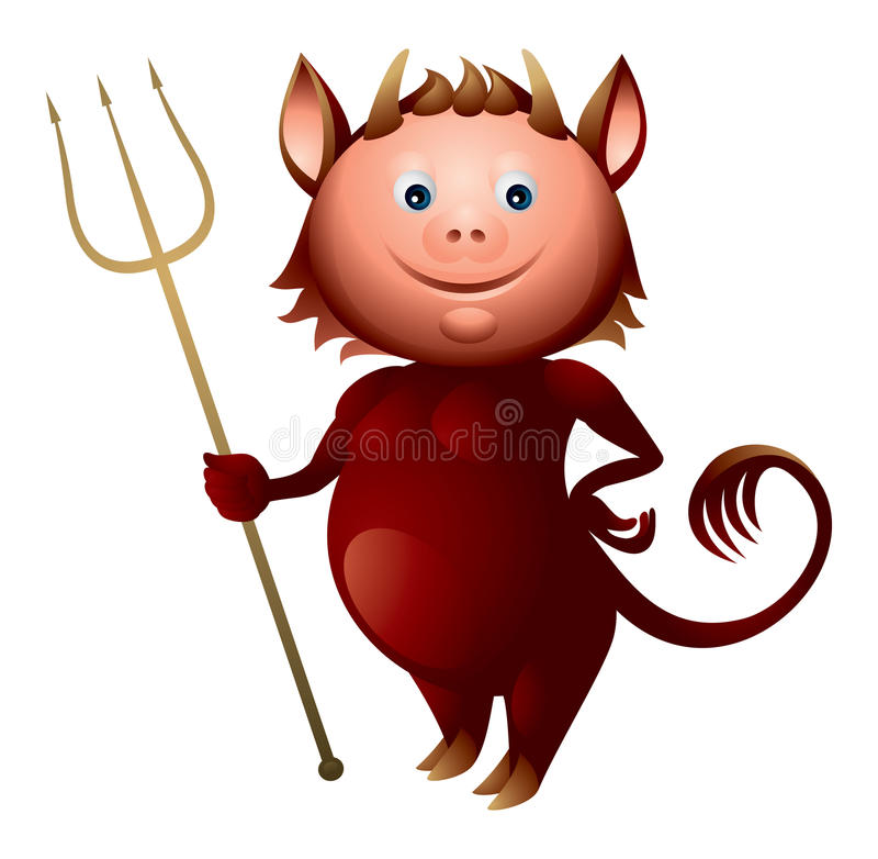 Download Imp with a trident stock vector. Image of vector, deamon - 24067371