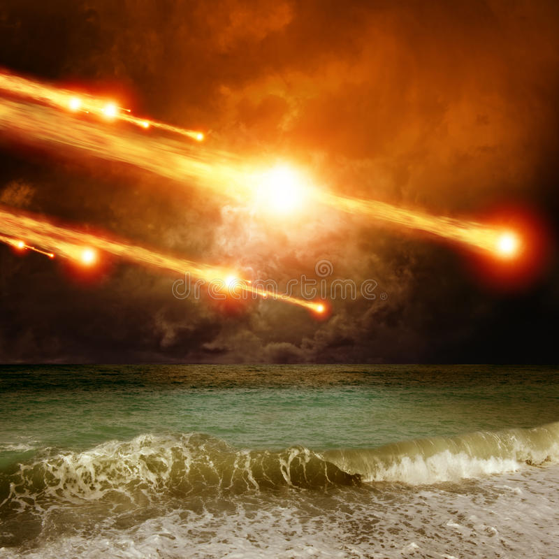 Impact. Abstract scientific background - asteroid, meteorite impact, stormy sea, ocean stock image
