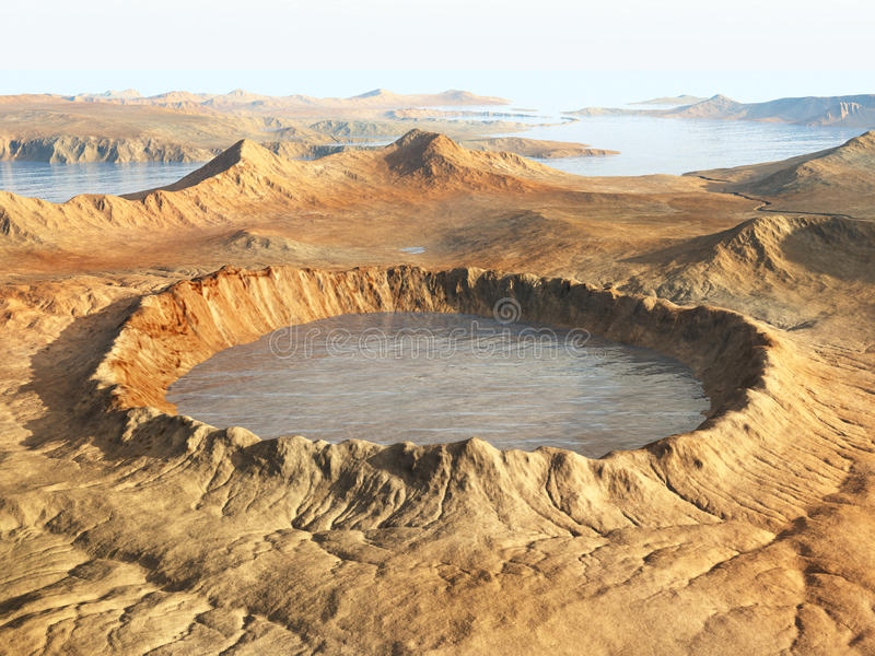 Impact crater. Computer generated 3D illustration with an impact crater vector illustration