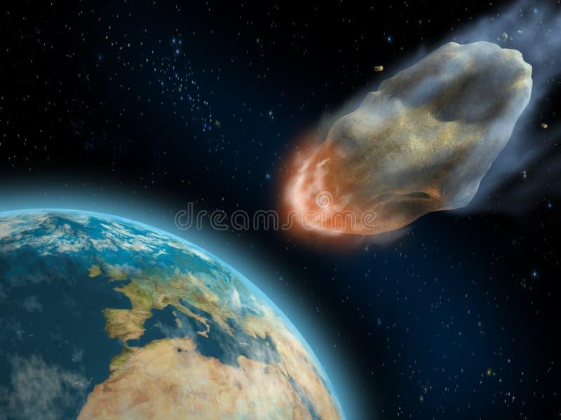 Impacto asteróide ilustração royalty free