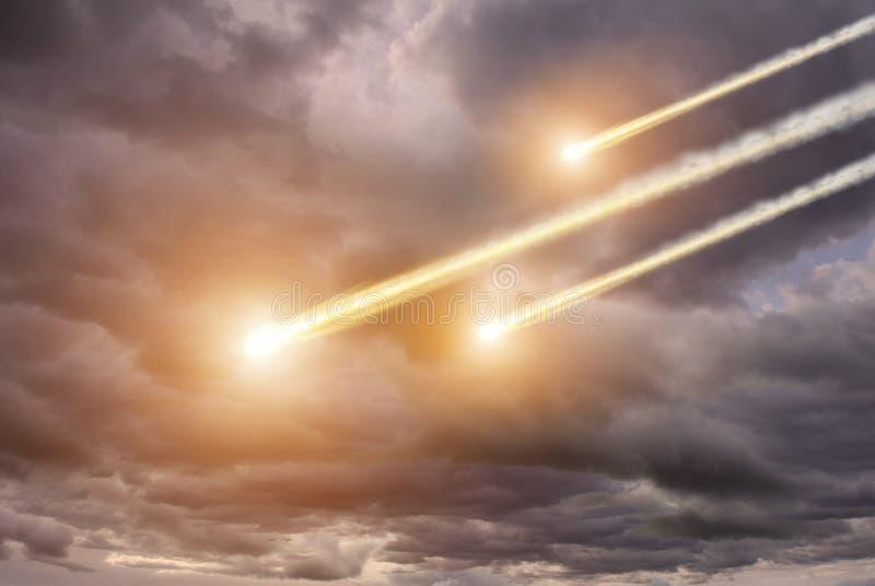 Impacto del meteorito en un planeta en espacio stock de ilustración