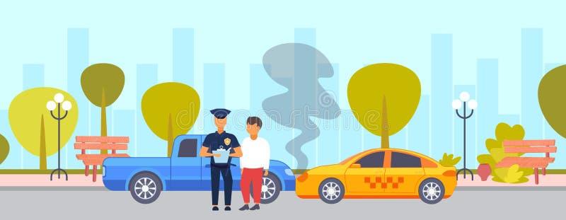 Impacto do acidente de trânsito no motorista da estrada com posição do agente da polícia sobre escrita quebrada do polícia d ilustração royalty free