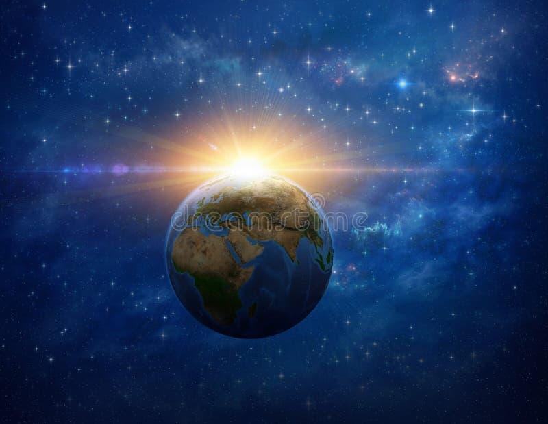 Impacto do meteoro, explosão maciça na terra do planeta do espaço ilustração stock