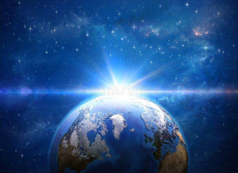 Impacto do meteoro na terra do planeta do espaço ilustração royalty free