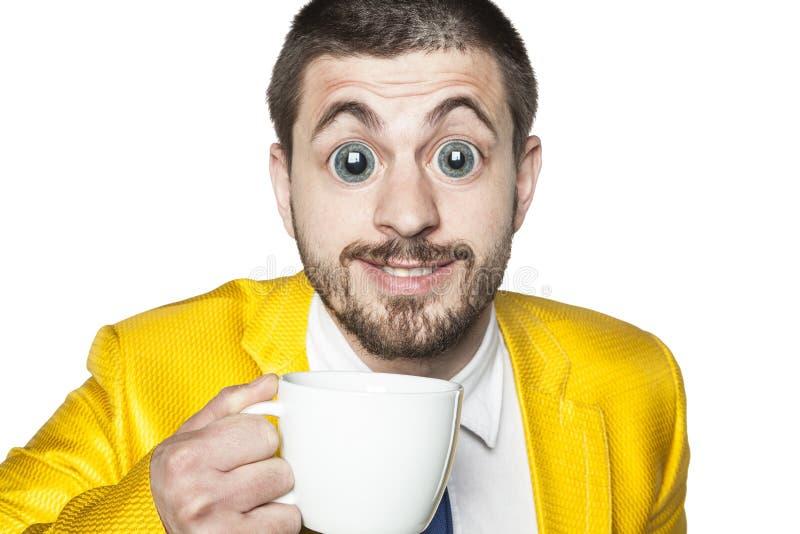 Impacto forte da cafeína, homem de negócios pronto para a ação fotografia de stock