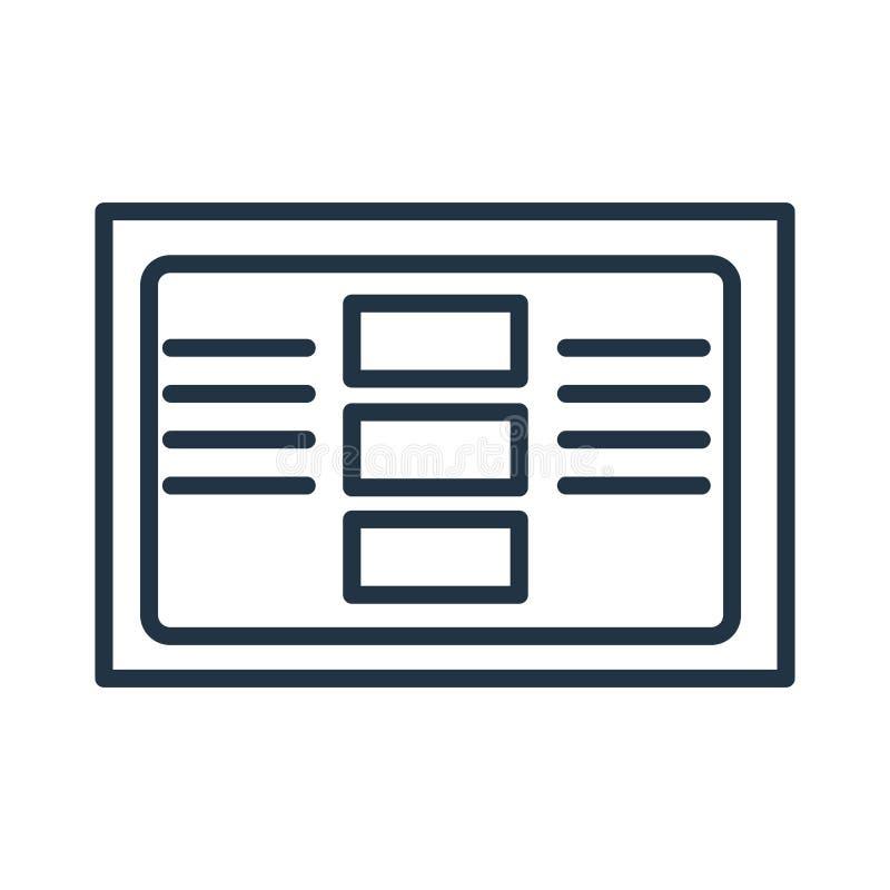 Impagini il vettore dell'icona isolato su fondo bianco, segno della pagina immagini stock