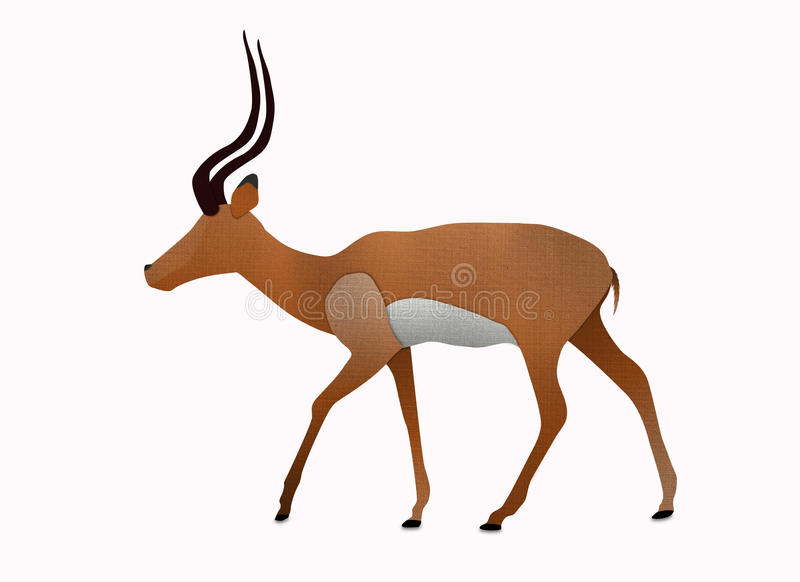 Impala Made From Recycled Paper Isolated On White Stock Image