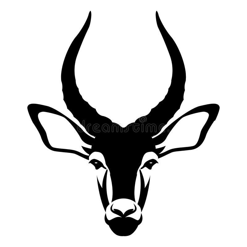 Impala samiec głowy twarzy wektoru stylu mieszkanie royalty ilustracja