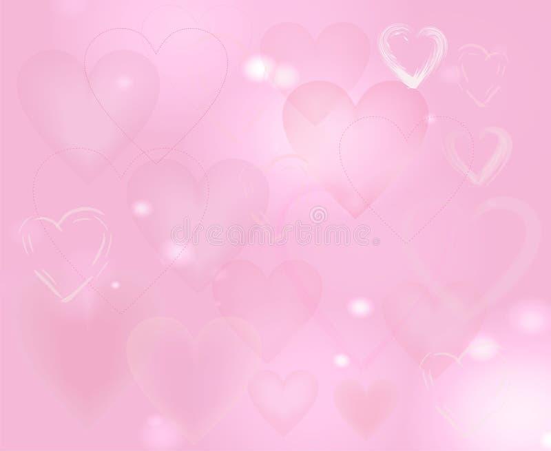 Impallidisca il fondo rosa con i cuori ed offuschi royalty illustrazione gratis
