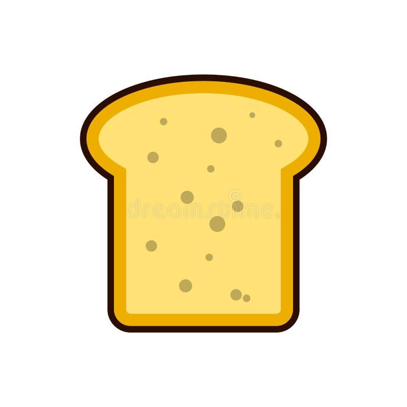 Impani la prima colazione dell'icona della fetta del pane tostato, prodotto lattiero-caseario ricco in proteine Illustrazione pia illustrazione di stock