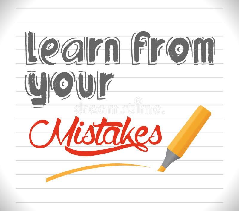 Impari dai vostri errori illustrazione vettoriale