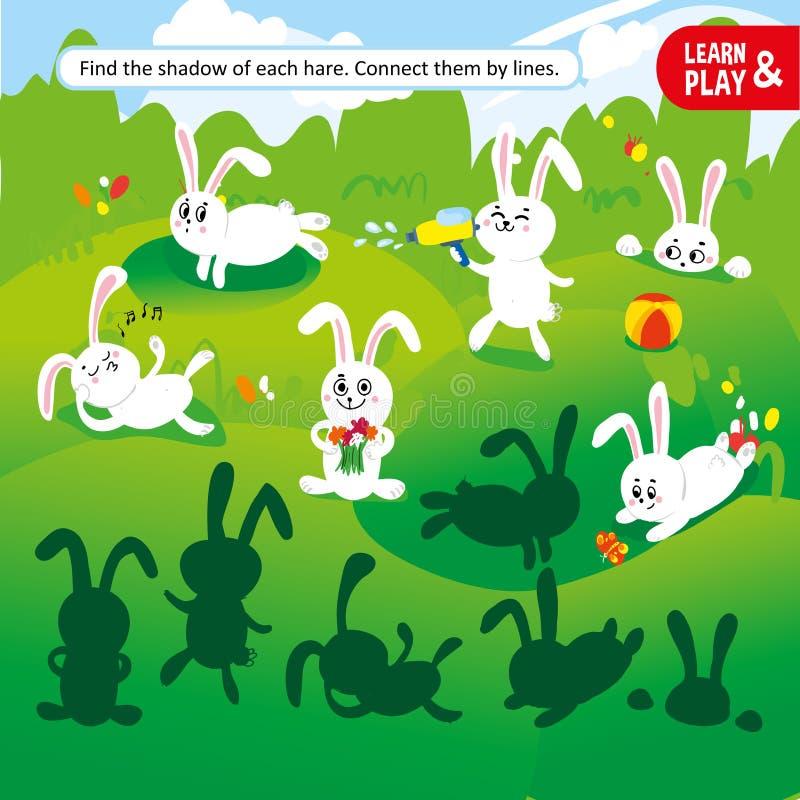 Impari e giochi allo stesso tempo Trovi l'ombra di ogni lepre e colleghili con le linee Compito di sviluppo per i bambini a royalty illustrazione gratis