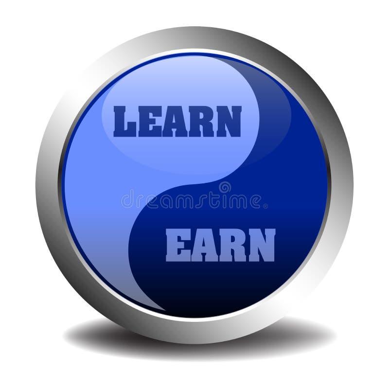 Impari e guadagni il simbolo illustrazione di stock
