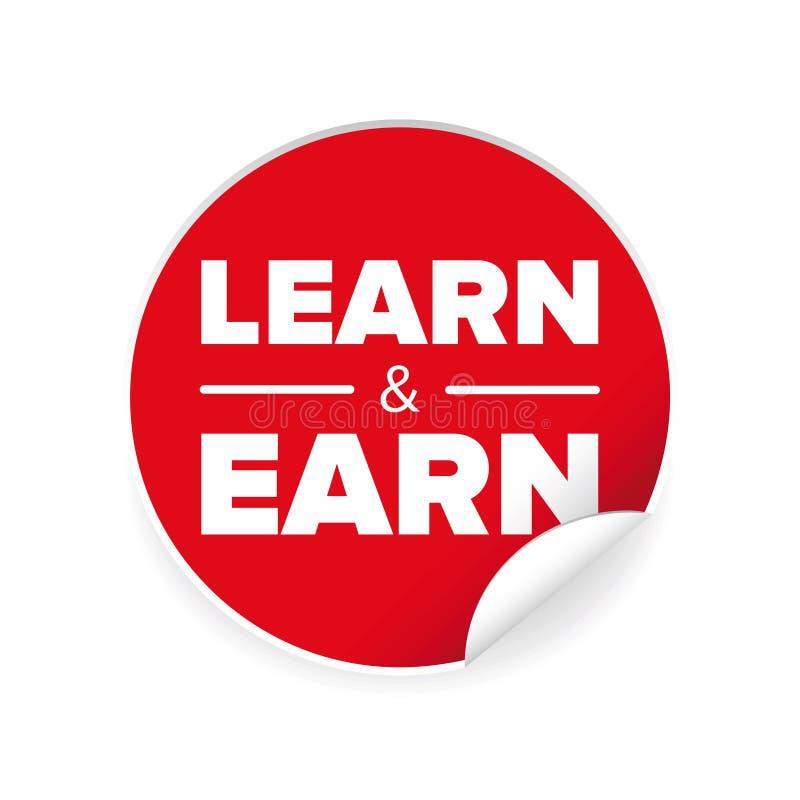 Impari e guadagni l'etichetta del segno royalty illustrazione gratis