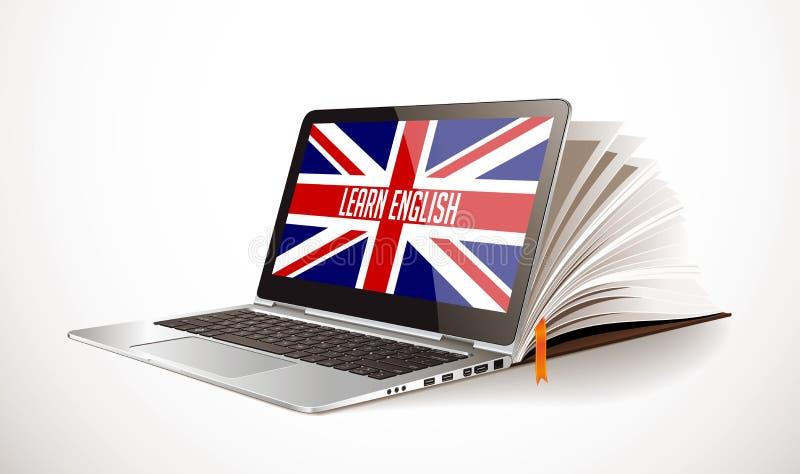 Impari il concetto inglese - compilazione del libro e del computer portatile - lingua di elearning illustrazione vettoriale