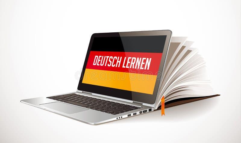 Impari il concetto tedesco - compilazione del libro e del computer portatile - lingua di elearning illustrazione vettoriale