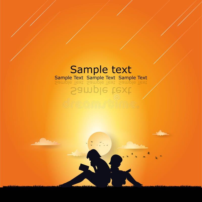 Impari il fondo con due ragazza ed il logo del tramonto illustrazione di stock