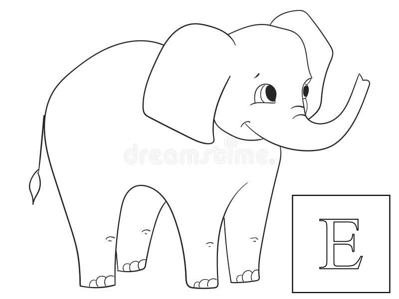 Impari il nome degli animali africani Elefante dell'iscrizione Vettore educativo del gioco Coloritura di ABC illustrazione vettoriale
