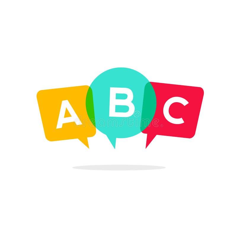 Impari l'icona di vettore delle lettere di ABC, concetto parlante di logo di conversazione del bambino illustrazione vettoriale
