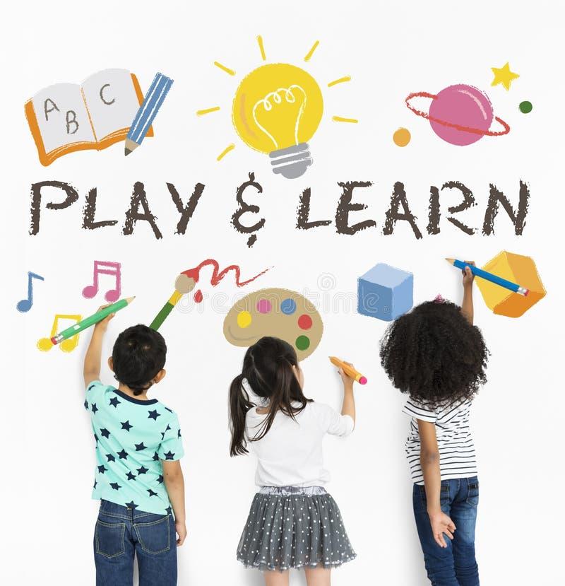 Impari l'istruzione del gioco che impara l'icona immagini stock