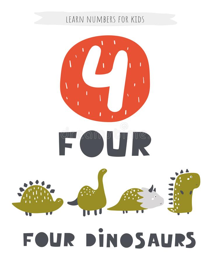 Impari la carta di numeri per i bambini Manifesto di numero quattro con i dinosauri e le parole di iscrizione Flash card educativ illustrazione di stock
