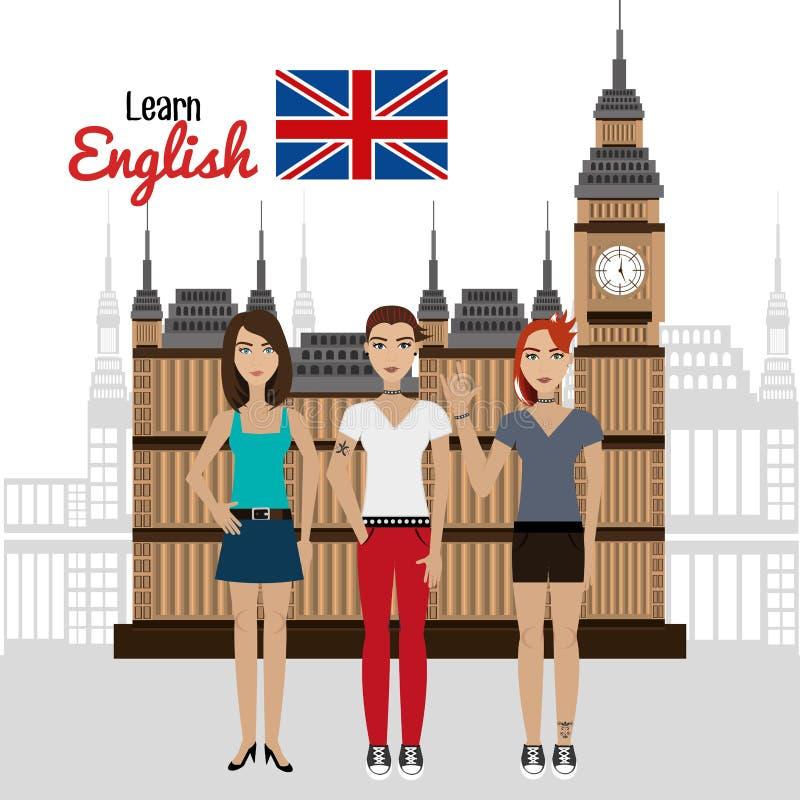 Impari la progettazione di inglese illustrazione di stock