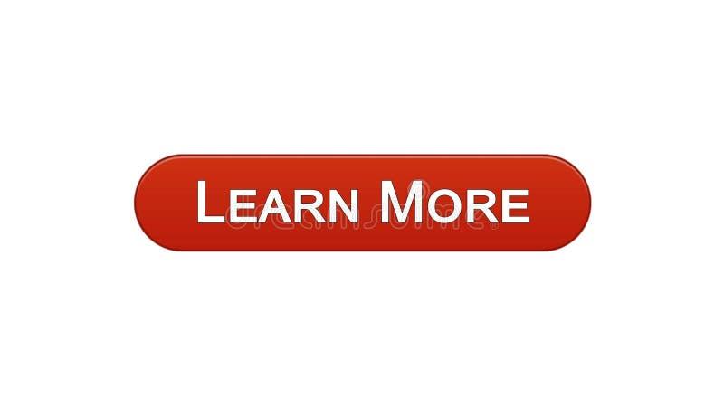 Impari più rosso di vino del bottone dell'interfaccia di web, programma online di istruzione, webinar illustrazione di stock