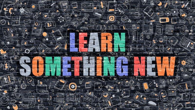 Impari qualcosa nuovo concetto Multicolore su Brickwall scuro illustrazione di stock