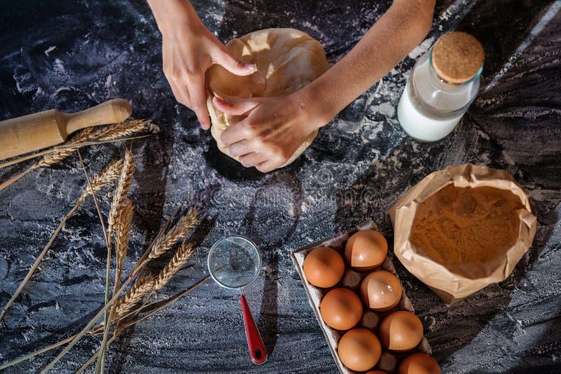 Impasti la pasta con gli ingredienti su fondo scuro immagini stock libere da diritti