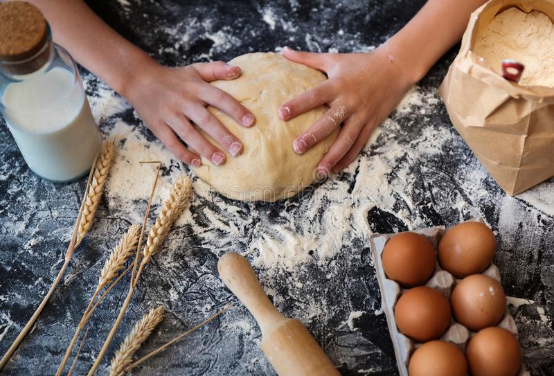 Impasti la pasta con gli ingredienti su fondo scuro immagini stock