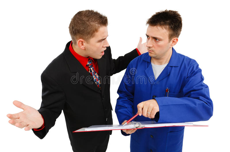 Impatient business man with employee stock photo