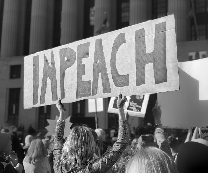 """""""Impeach†teken  van Nashville's Women's Maart 2018 stock foto's"""