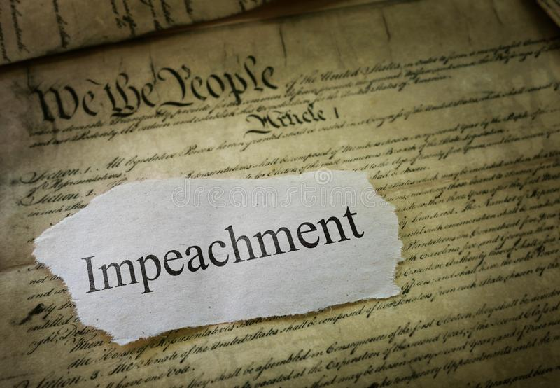 Impeachmentnyheternarubrik royaltyfria foton