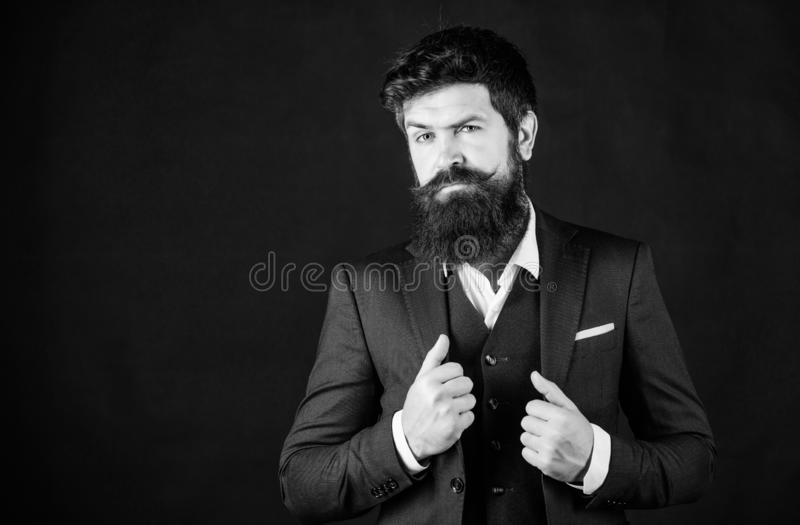 Impeccable style. Businessman fashionable outfit black background. Man bearded guy wear suit outfit. Perfect elegant. Tuxedo outfit. Elegancy and male style stock image