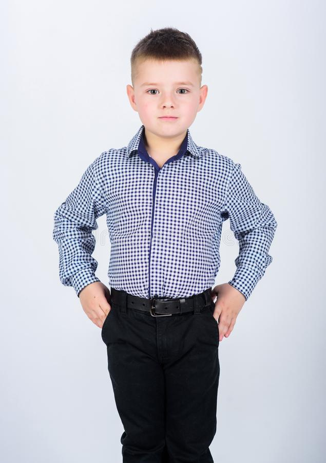 Impeccable style. Happy childhood. Kids fashion. Small businessman. Business school. Confident boy. Upbringing and royalty free stock images