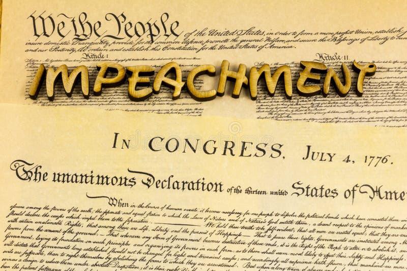 Impedimento da Constituição presidencial dos EUA Declaração de independência Documento foto de stock