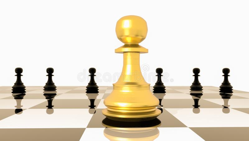Impegni la gestione eccezionale di vantaggio competitivo del soldato quello dorato di scacchi - la rappresentazione 3d illustrazione vettoriale