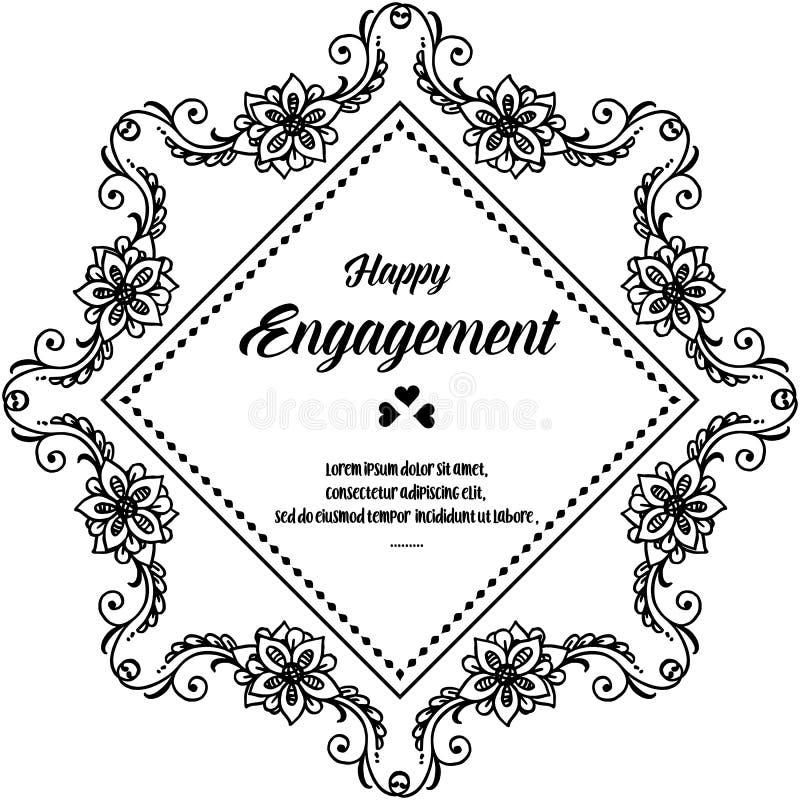 Impegno felice dell'invito, carta elegante di progettazione, bella struttura del fiore della decorazione Vettore illustrazione di stock