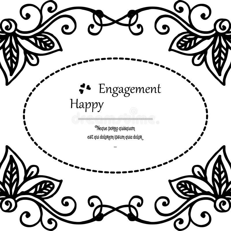 Impegno felice dell'invito, carta elegante di progettazione, bella struttura del fiore della decorazione Vettore illustrazione vettoriale